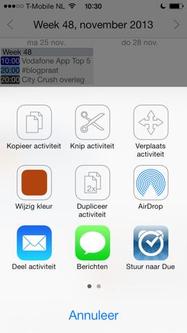 Week Calendar iOS 7 deelfuncties