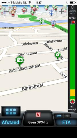 CoPilot GPS navigatie scherm