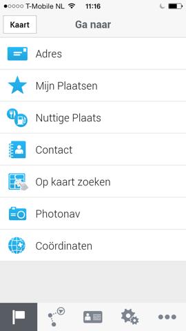 CoPilot GPS iPhone hoofdmenu