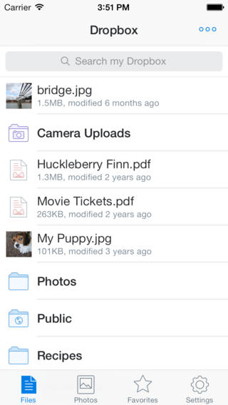 Dropbox iOS 7 iPhone inhoud