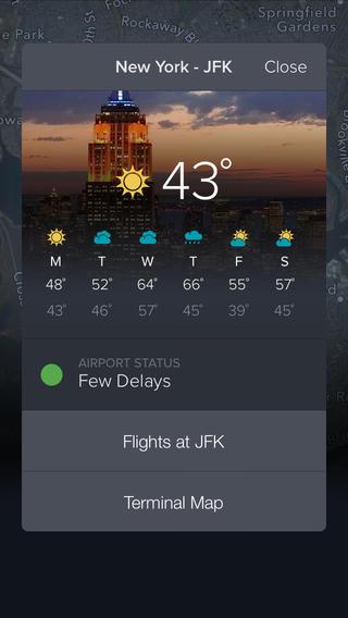 FlightTrack weer op vliegveld iOS