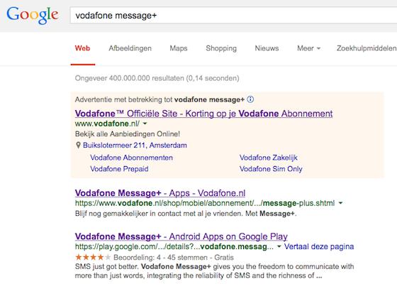 Google-resultaten Message+