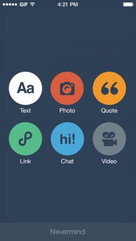 Tumblr iOS 7 nieuwe knoppen