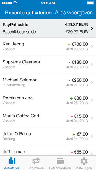 PayPal recente transacties iPhone
