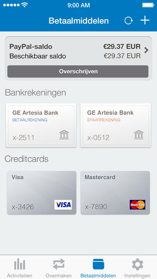 PayPal ingevoerde kaarten iPhone