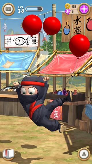 Clumsy Ninja optillen aan ballonnen