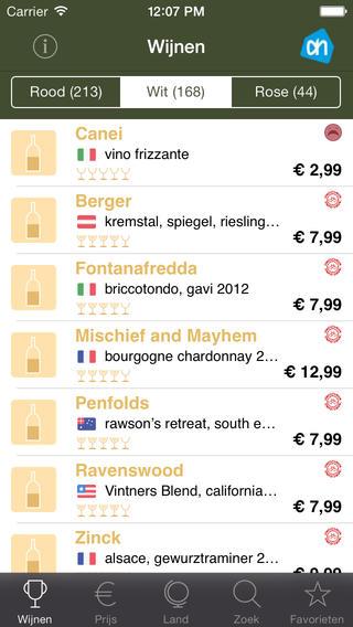 Omfietswijngids 2014 iPhone witte wijnen