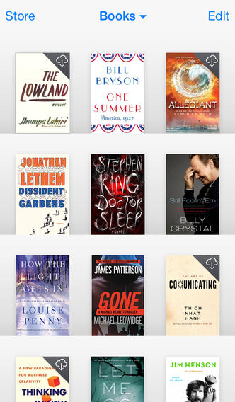 iBooks iOS 7.0 uiterlijk boekenkast