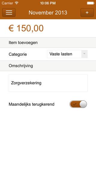 Uitgaven uitgave invoeren op iPhone