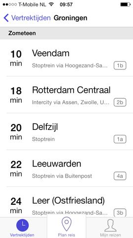 RailPlanner iPhone treinsoort zien