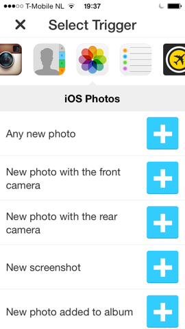 IFTTT foto-opties iPhone