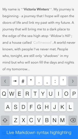 Writedown iPhone tekstverwerken
