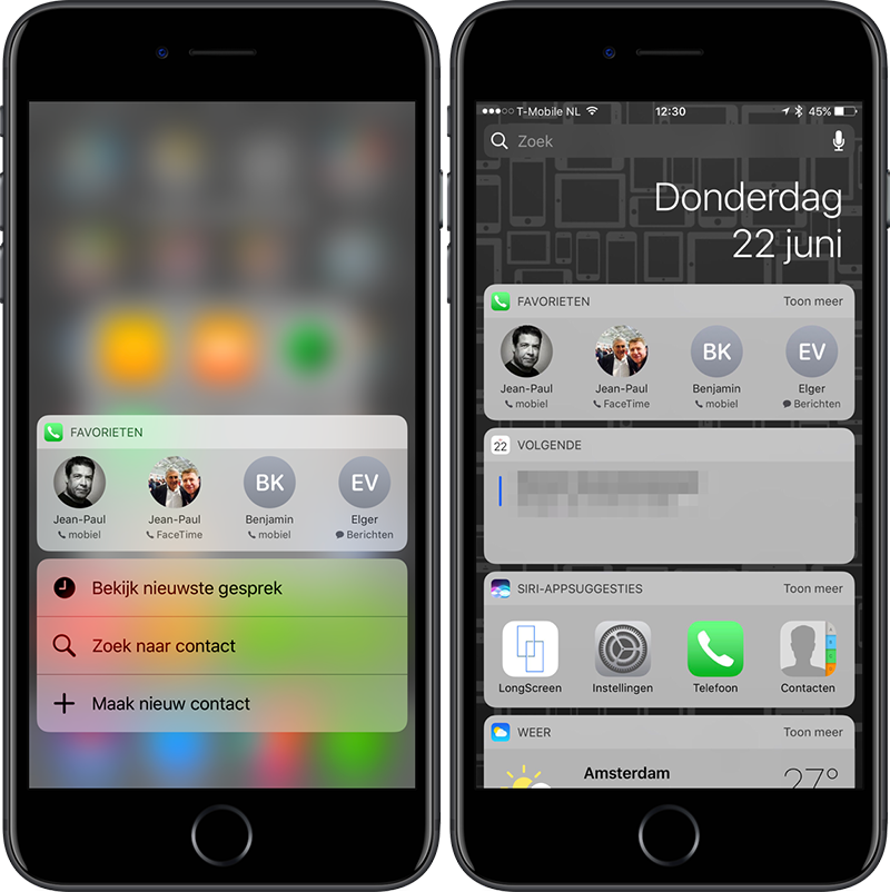 Favorieten 3D Touch en widget