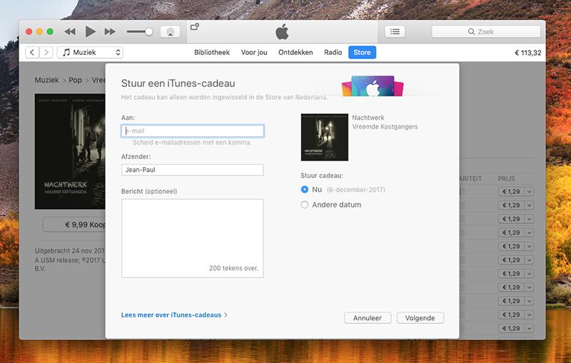 Muziekalbum cadeau geven via iTunes