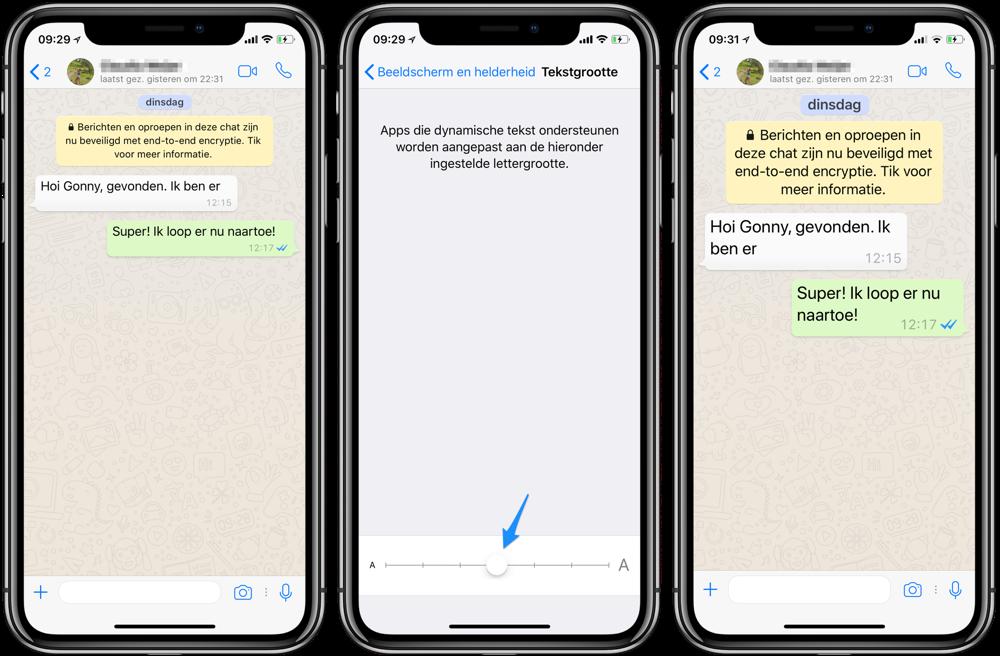 WhatsApp letters vergroten