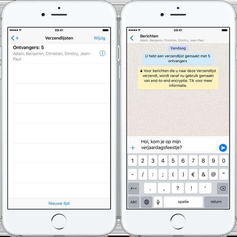 WhatsApp verzendlijst gebruiken
