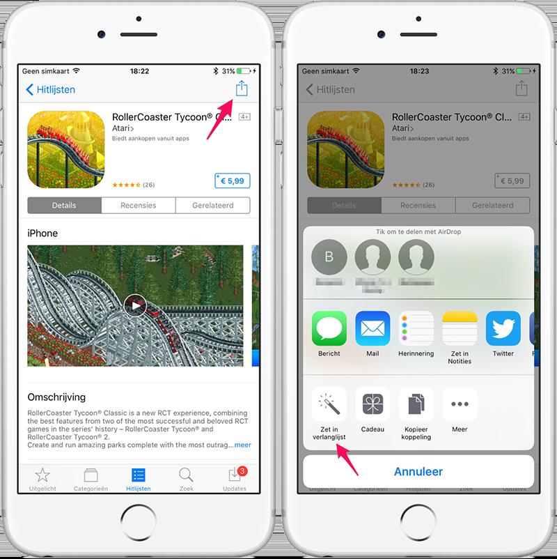 Verlanglijst apps iPhone en iPad