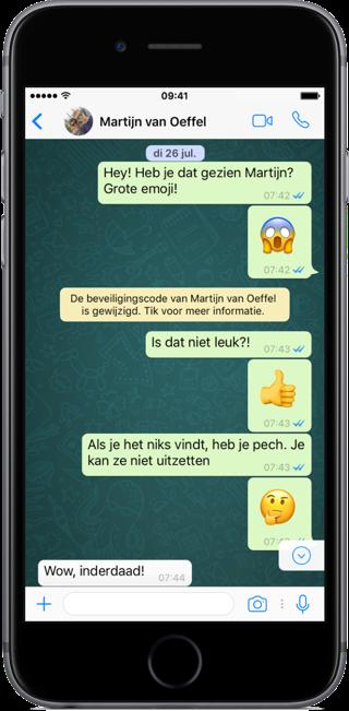 WhatsApp-gesprek op de iPhone.
