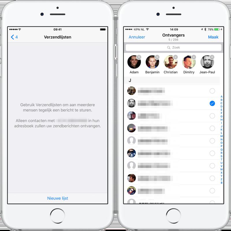 WhatsApp verzendlijst maken