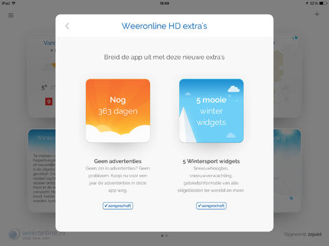Weeronline HD iPad nieuwe pakketten