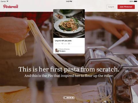 Pinterest iPad nieuw introscherm
