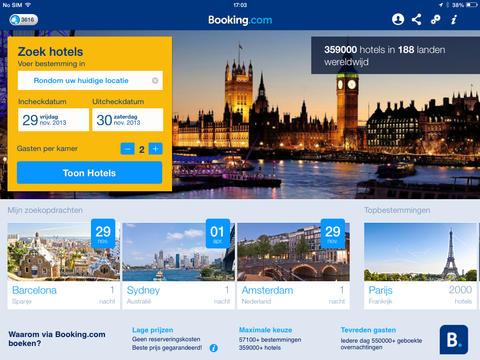 Booking.com nieuwe startscherm iPad