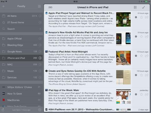 Mr. Reader nieuwsoverzicht iPad