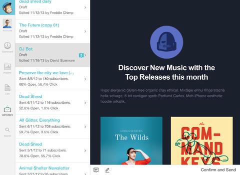 MailChimp nieuwsbrieven versturen iOS