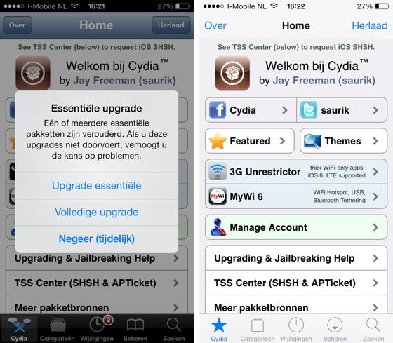 Cydia update voor iOS 7