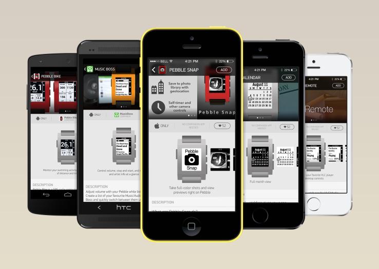 Pebble appstore voor iOS iPhone