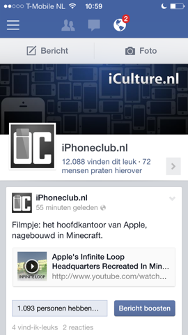 Facebook Paginabeheer iOS iCulture