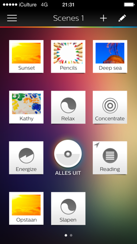 Philips Hue hoofdscherm iPhone iOS 7