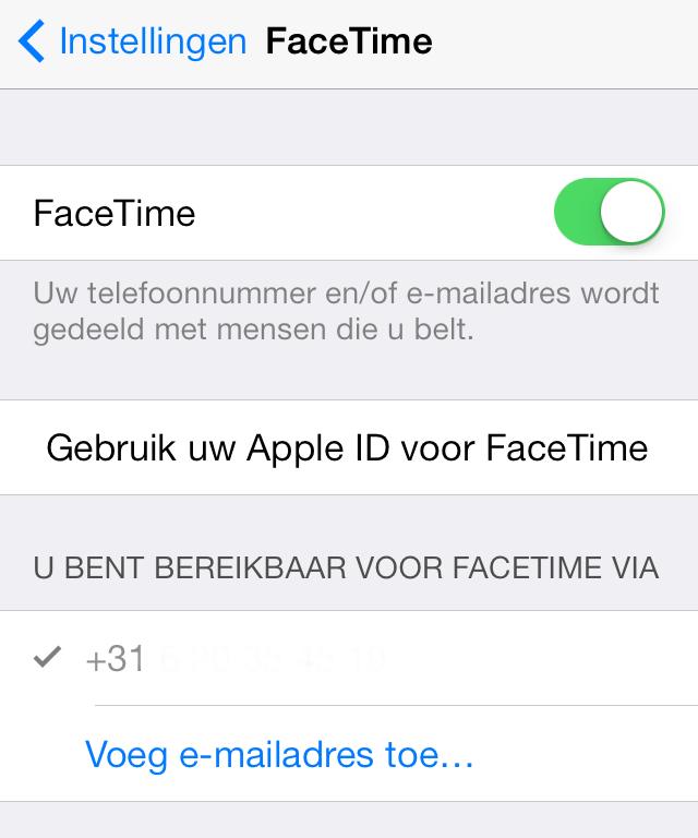 FaceTime aanmelden