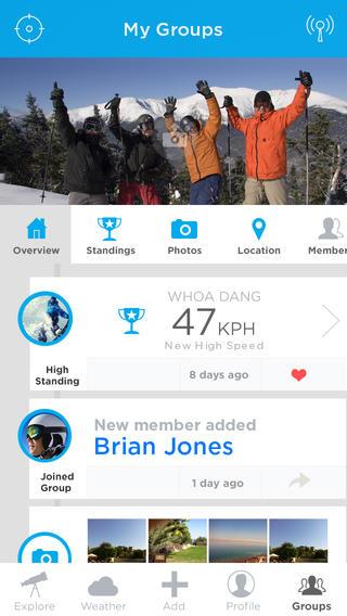 Mountago groepen timeline iPhone