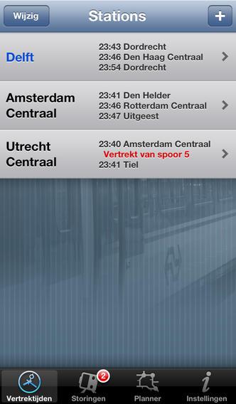 Trein vertrektijden iPhone-app