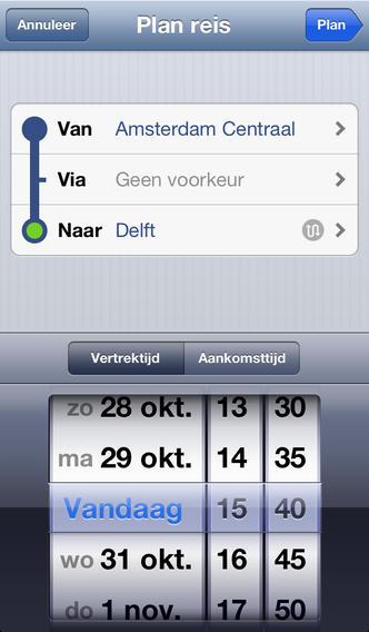Trein route plannen iOS