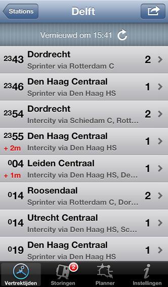 Trein iPhone-app vertrektijden
