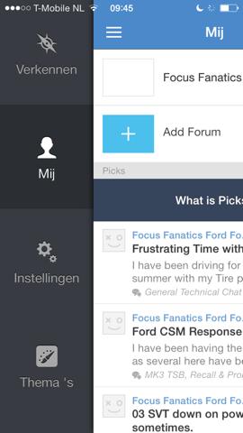 Tapatalk Forum app nieuw hoofdmenu