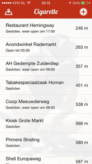 Cigarette locaties op kaart iPhone