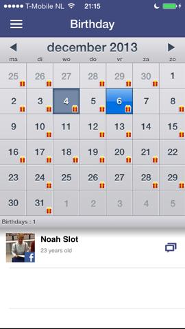 One.vu Facebook verjaardagen iPhone app