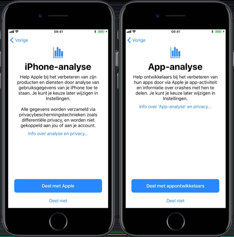iPhone- en app-analyse bij het instellen van je iPhone.