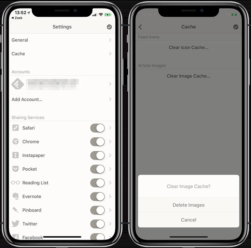 Reeder app cache wissen