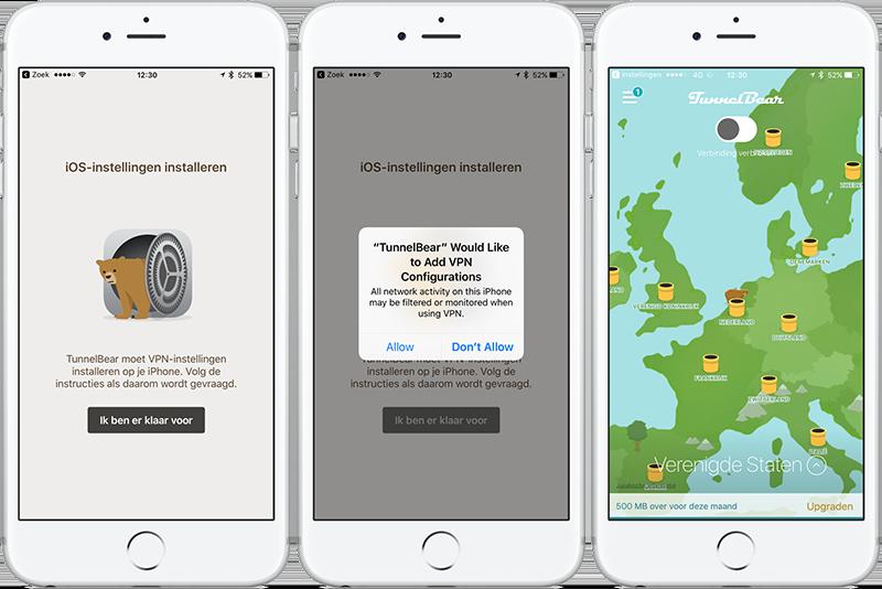 TunnelBear instellen op iPhone