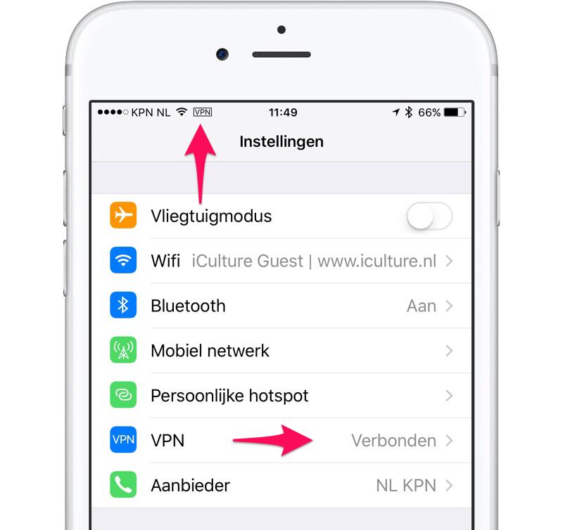 VPN verbonden op iPhone