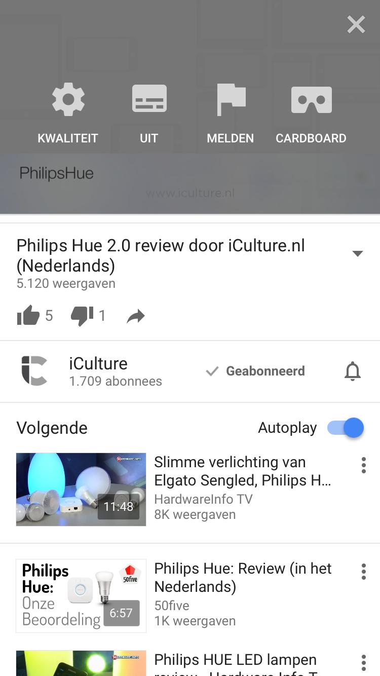 Beeldkwaliteit instellen voor een video in YouTube.