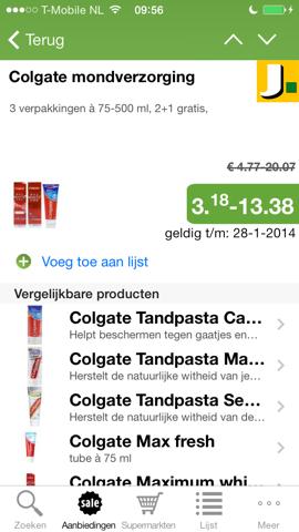 Supermarkt Plus Colgate prijzenvergelijking