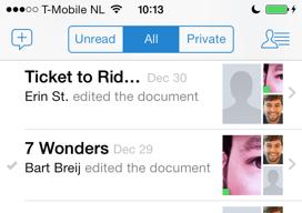 Quip iPhone samenwerken aan documenten