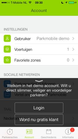 Parkmobile iPhone proberen account