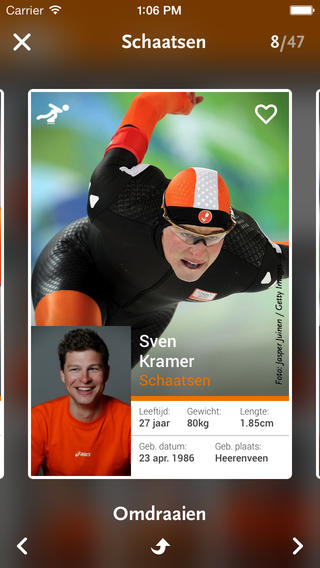 TeamNL Sven Kramer kaart iPhone