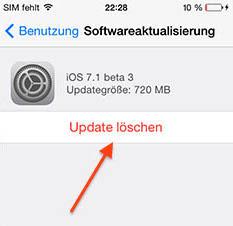iOS 7.1 beta update verwijderen delete